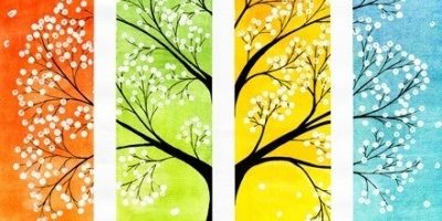 on a colorful watercolor background tree with white sakura